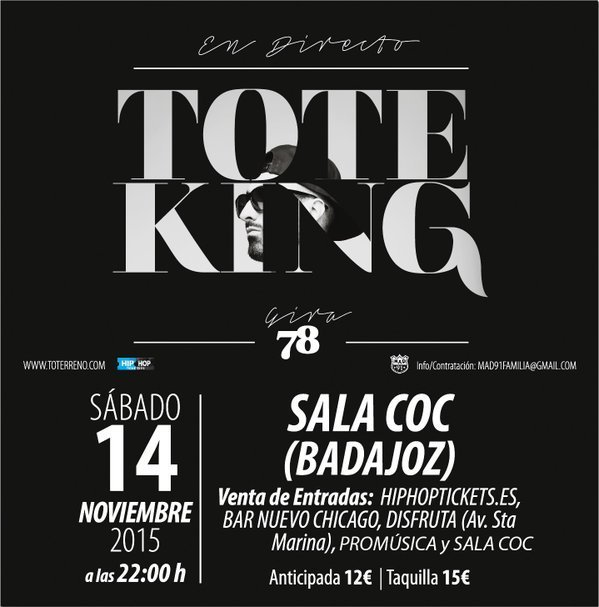 Normal tote king en concierto centro de ocio contemporaneo coc badajoz