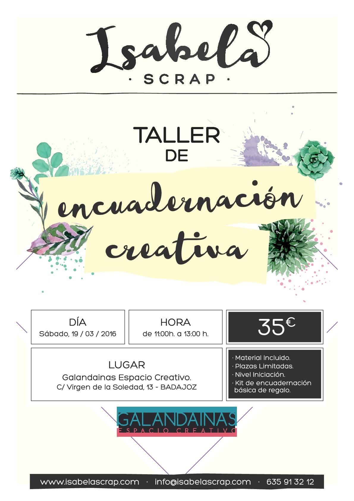 Cartel taller de encuadernaci n creativa en badajoz for Cursos de cocina en badajoz