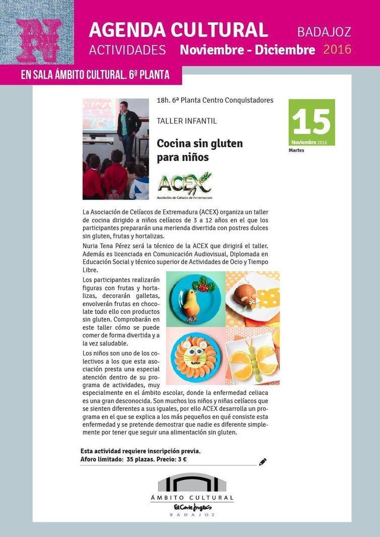 Taller infantil 39 cocina sin gluten para ni os 39 en badajoz for Cursos de cocina en badajoz