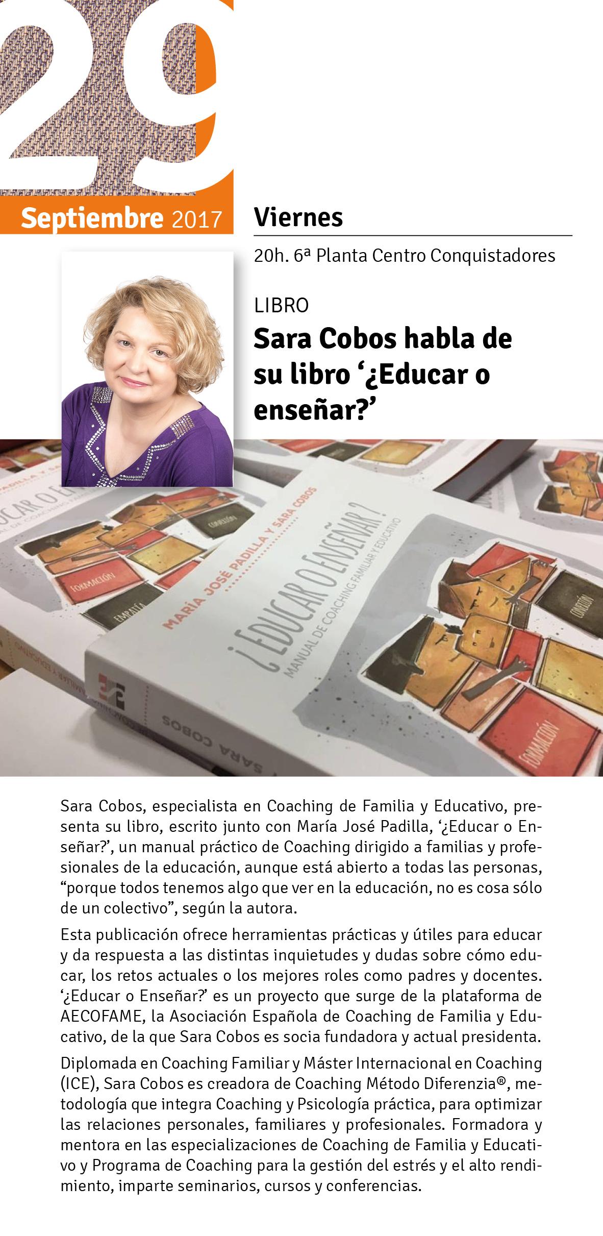 Presentaci n libro educar o ense ar de sara cobos for El corte ingles libros